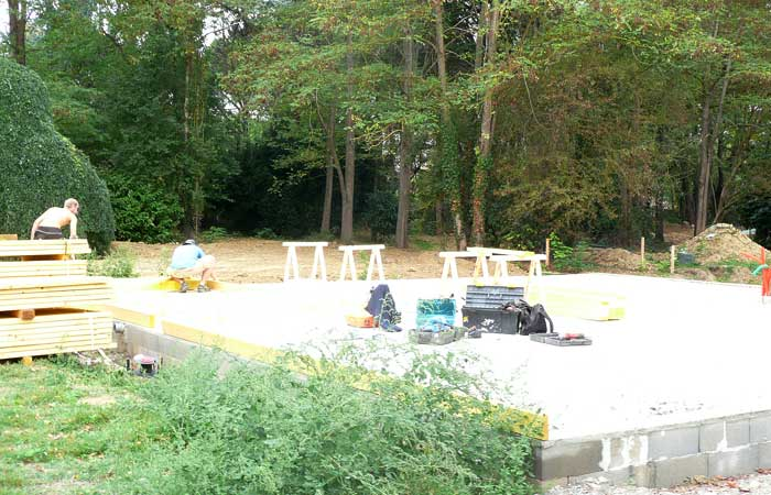 01 Mise-en-place-chantier Dalle in Construction maison bois - Labarthe/Lèze (31)