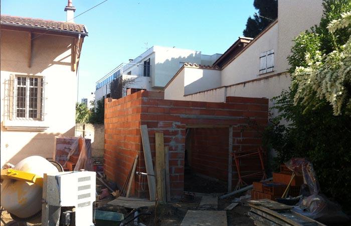 04 Maison-toulouse-construction-murs-annexe in Surélévation, extension et rénovation de maison Toulouse centre (31)