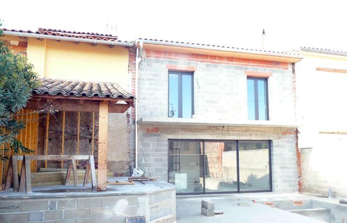 22 Facade-cote-jardin Avant-enduit in Construction maison Aussonne (31)