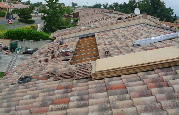 02-Surelevation-Launaguet-Ouverture-toiture in Surélévation maison à Launaguet (31)