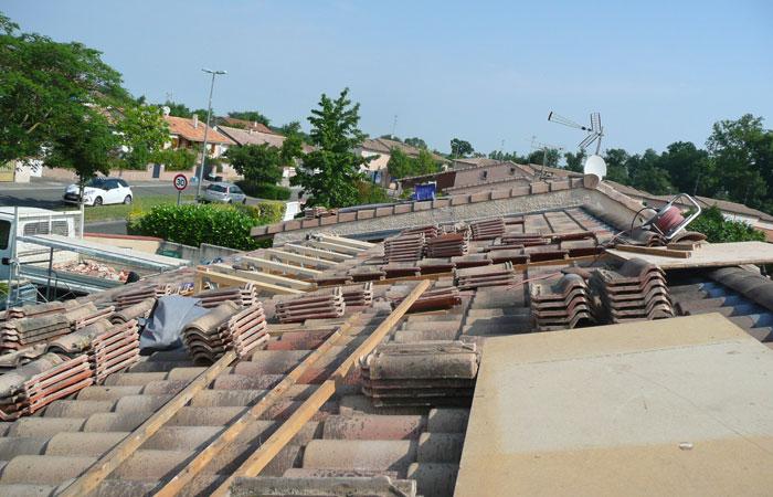 03-Surelevation-Launaguet-Poutres-plancher in Surélévation maison à Launaguet (31)