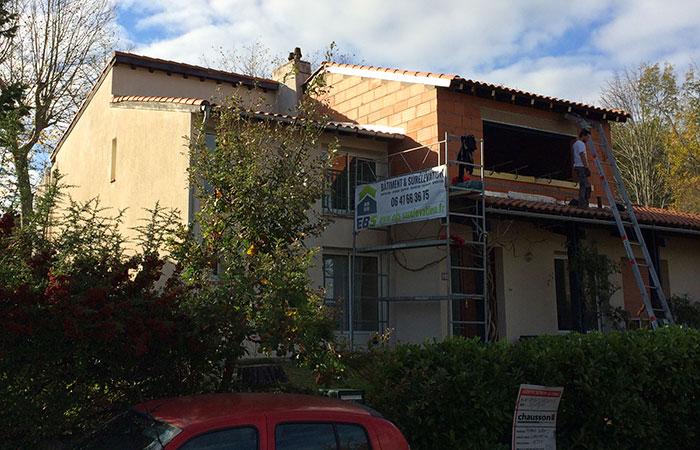 03-Surelevation-maison-ossature-briques in Surélévation dune maison à Auzeville (31)