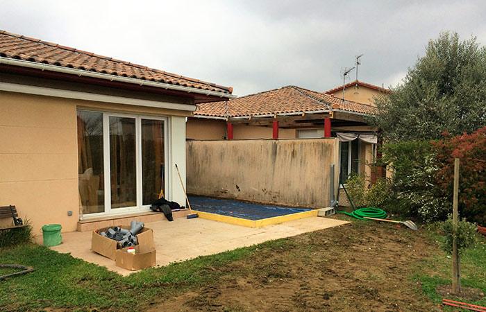 01-Extension-maison-colomiers-dalle1 in Extension dune maison à Colomiers (31) + Création piscine 8 x 4m